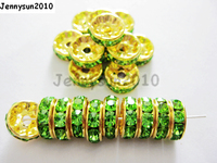 200pcs Lot 4mm Top Quality Czech Crystal Peridot Rhinestone Pave Rondelle Metal Gold Plated Spacer Loose