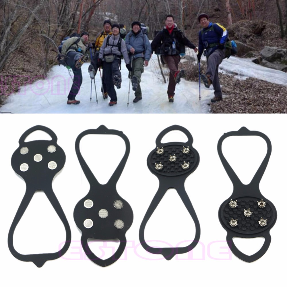 THINKTHENDO 1Pair Ice Snow Studs Non-Slip Spikes Shoes Boots Grippers Crampon Walk Cleats