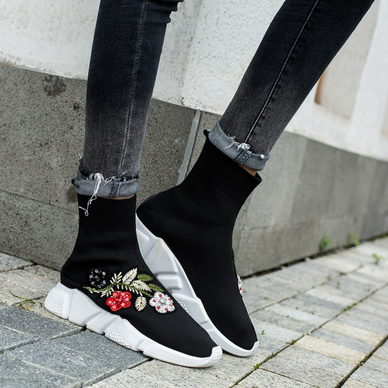 Girseaby NEW Embroidered flower sneakers knitting Winter Woman Shoes Ankle flat Boots Female Platform rhinestone slip on Black - 4