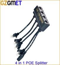 4 in 1  power over ethernet midspan splitter 10/100mbps IEEE802.3at/af 12V/2A  IP camera poe splitter