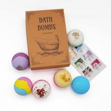 6Pcs Floral Aromatherapy Bath Bombs Natural Handmade Dried Flower Rainbow Salt Ball Shower Fizzy Bomb Skin Care