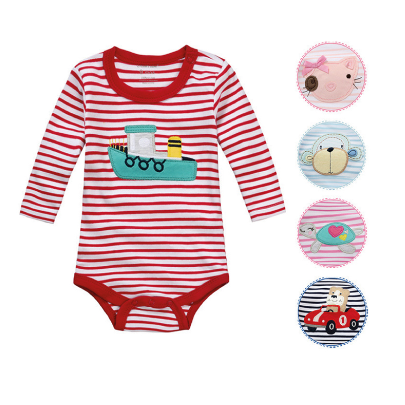 Moms Care Striped Baby Rompers 100 Cotton Long Sleeve Baby Wear Colorful Spring Autumn Infant Jumpsuit