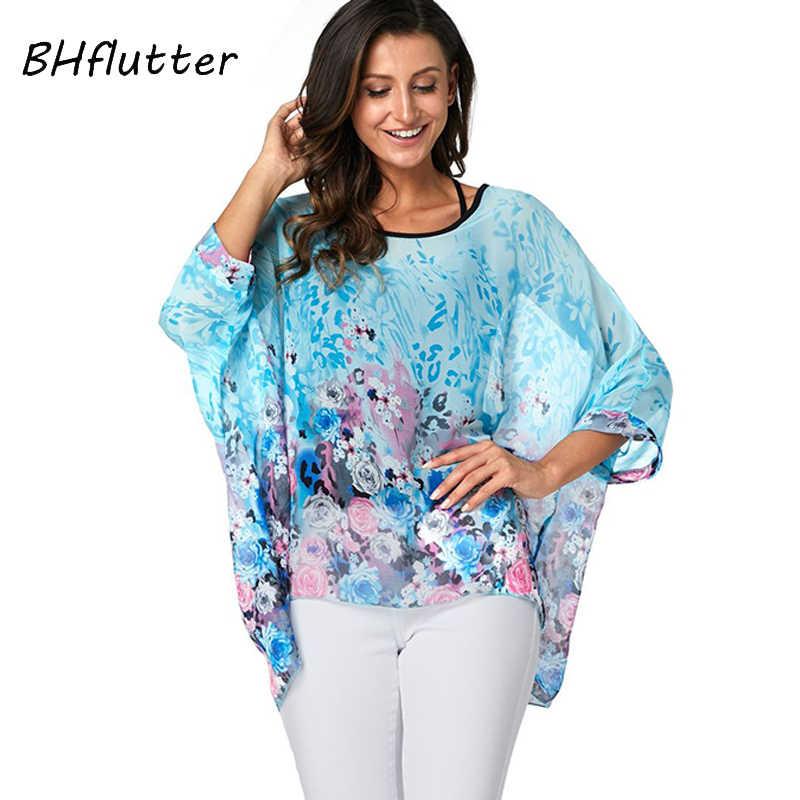 BHflutter נשים חולצות טוניקת 2019 חדש סגנון פרחוני הדפסת שיפון חולצה חולצה עטלף מקרית Loose קיץ חולצות בתוספת גודל Blusas