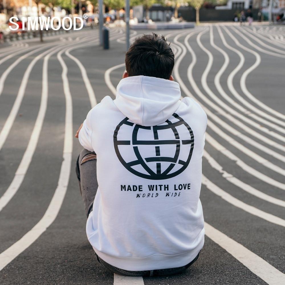 SIMWOOD Casual Hoodies Men Fashion Graphic Print Sweatshirts Hooded 2020 spring Streetwear Tracksuit Brand Pullover 180394