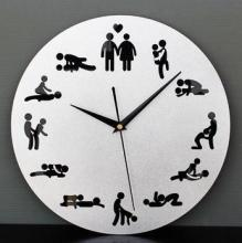 Free Shipping 24pcs/lot Sex Position Clock 24Hours Sex Clock Novelty Wall Clock