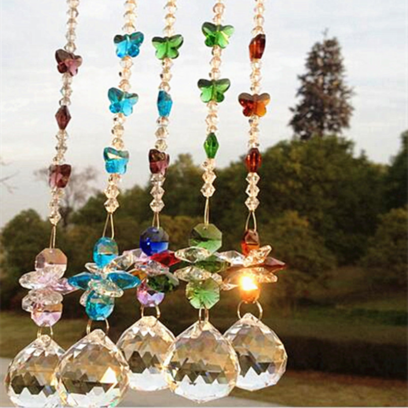 5pcs mixcolors Garland Chakra Spectra Suncatcher Glass Crystals for chandelier parts wedding crystal hanging drops decoration