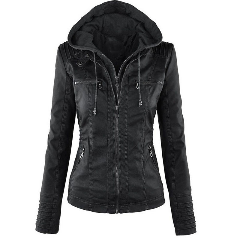 Gothic   Leather   Jacket Women Plus Size XS-7XL Autumn Winter Punk   Leather   Coats Basic Jackets Waterproof Windproof Coats Female