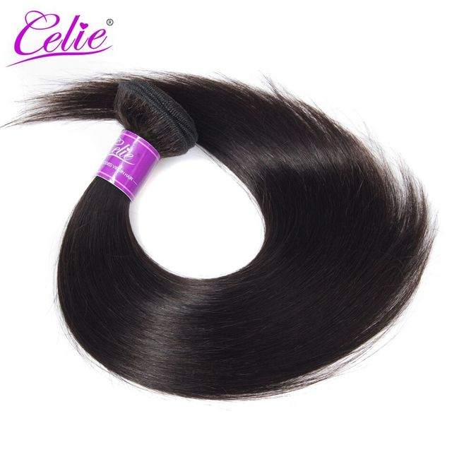Celie Hair Raw Indian Hair Weave Bundles Natural Black Color Human Hair Weave Extension Straight Hair Bundles Can Be Dyed