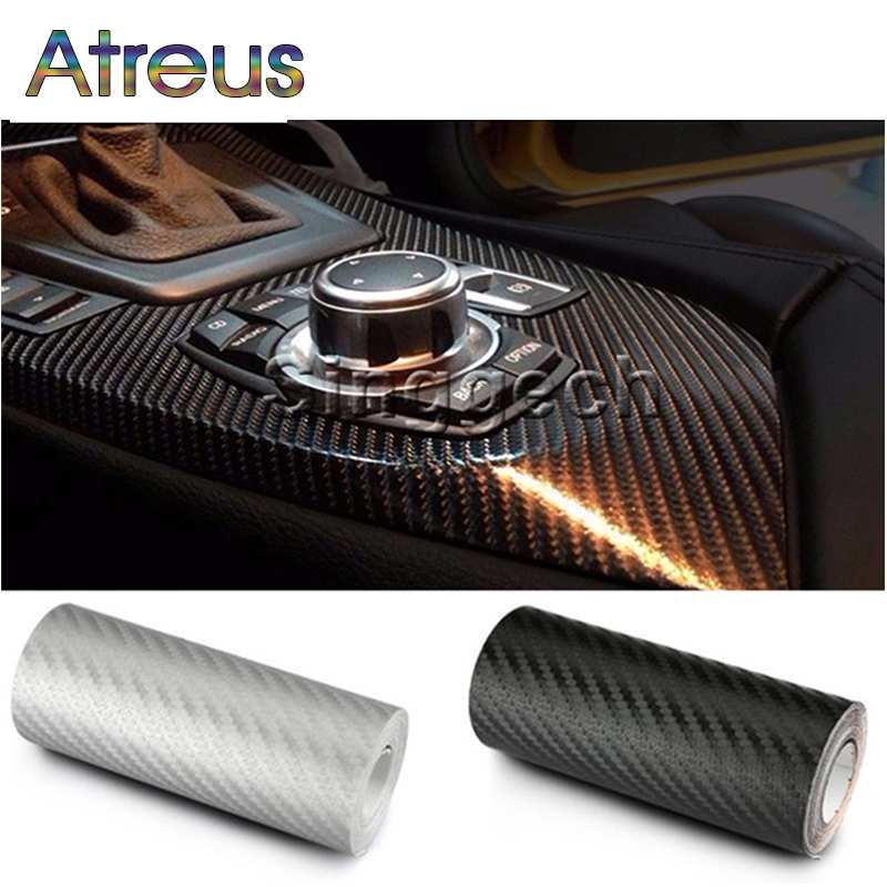 Atreus 30cmx127cm Carbon Fiber Car Styling Stickers For Honda Civic Accord CRV Fit Alfa Romeo 159 giulia 147 156 Jetta MK6 2017 2pcs yongxun stickers decal for alfa romeo 147 156 159 166 giulietta stripe body kit door handle guard sill da 432