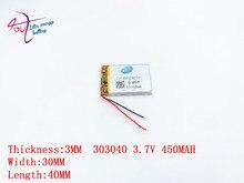 3.7V,450mAH,[303040] PLIB; polymer lithium ion / Li-ion battery for dvr,GPS,mp3,mp4,cell phone,speaker
