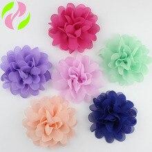 10 цветов, яркие аксессуары для волос для маленьких девочек, маленькие шифоновые Цветочные головные уборы для детей, без зажима, реквизит для фотосъемки, дальний вид, розовый цвет