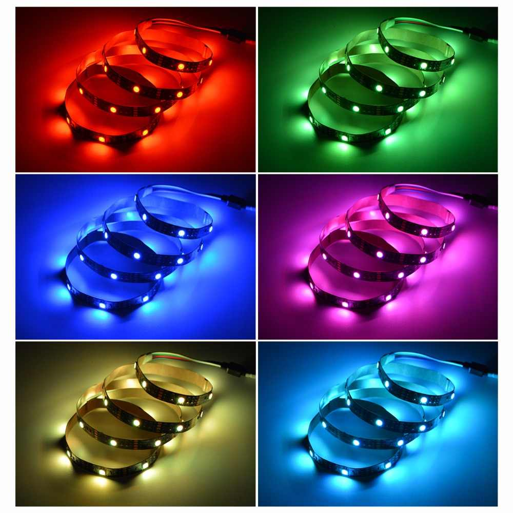 RGB 5050 Тира USB светодиодный полосы света не водонепроницаемый DC 5 V диод лента 1 м 2 м 3 м группа светодиодный светильник ТВ подсветка светодиодный лента гибкий свет