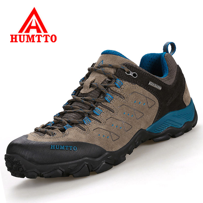 HUMTTO Men Hiking Shoes Genuine Leather Women Mountain Climbing Shoes Outdoor Anti skid Sport Shoes Travel