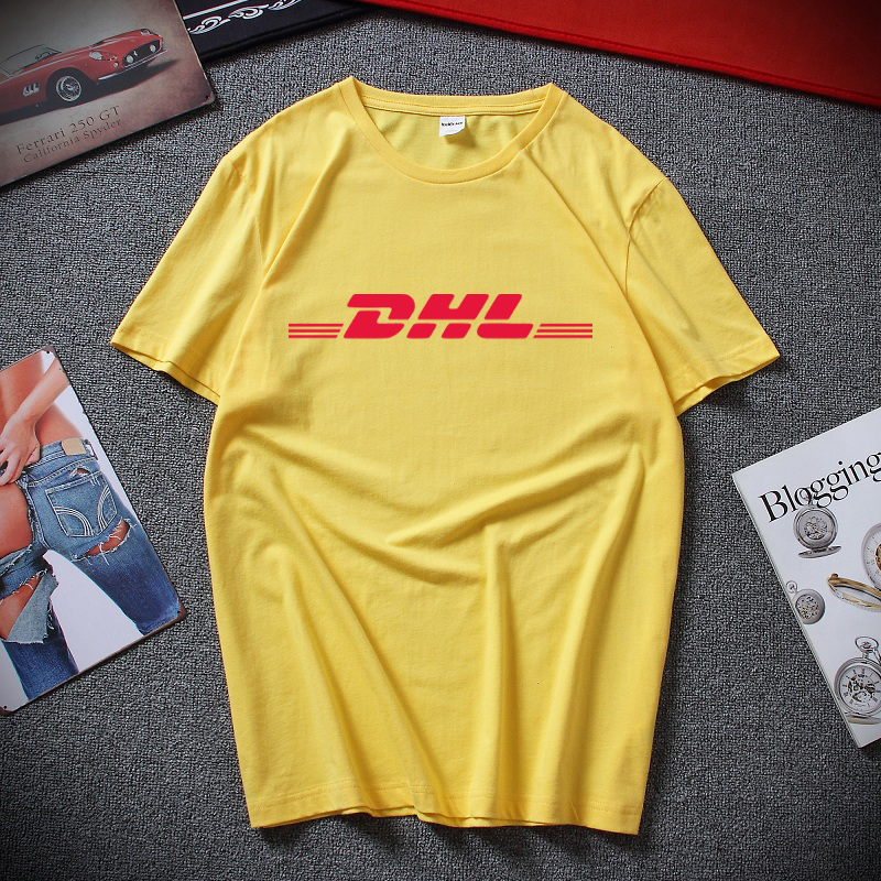 Summer 100% Cotton DHL   T     Shirts   Letters Logo Printed Yellow Short Sleeve Casual Mens O Neck   Shirts   Funny   T  -  shirt