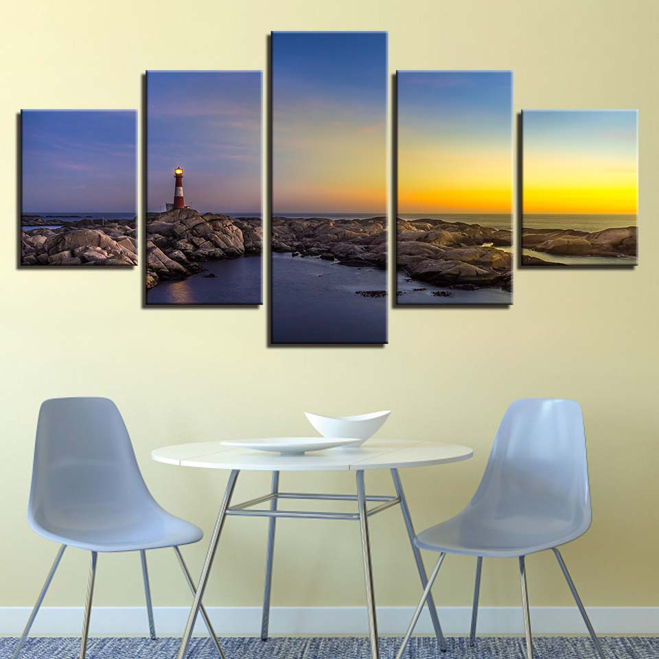 LIGHT HOUSE SUNSET CANVAS WALL ART PRINTS PICTURES PHOTO HOME DECOR MODERN ART