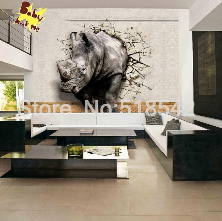 Dostosowane fototapety 3d realistyczne mural nosorożec zwierząt lew słonie włókniny sypialnia mural home decor tapety ścienne 3d 9