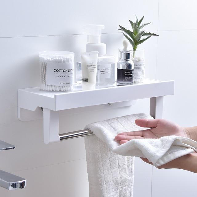 Ventosa Armazenamento Do Banheiro De Montagem Na Parede Da Cozinha Spice Rack Home Organizer Bolsa Titular Livre Decorativo