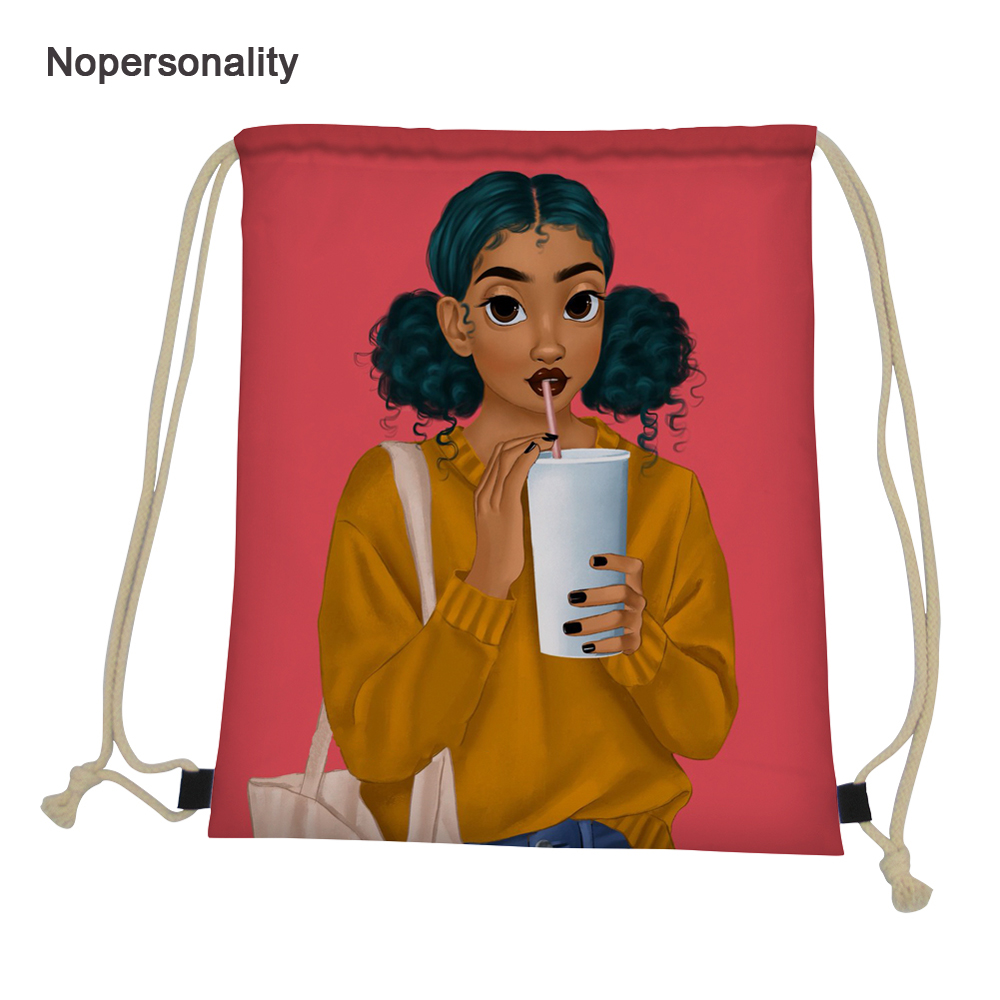 Nopersonality Pink Drawstring Bag For Women Kids Black Art Afro Girls Travel Backpack Foldable Women Storage Package Softback