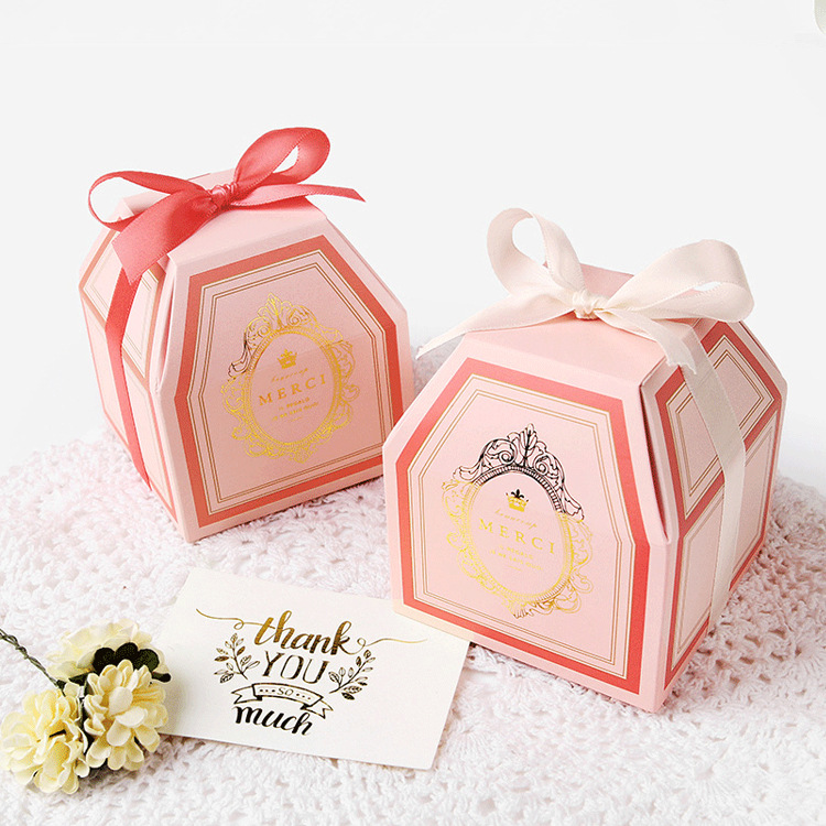 100pcs Pink, pale green,Golden text,Wedding party gift box,quality candy boxes,chocolate box 9x9x10cm image