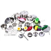 MWZ More Style Stainless Steel Kitchen Pots Pans Tools Pretended Play Education Kids Kitchen Utensils Play