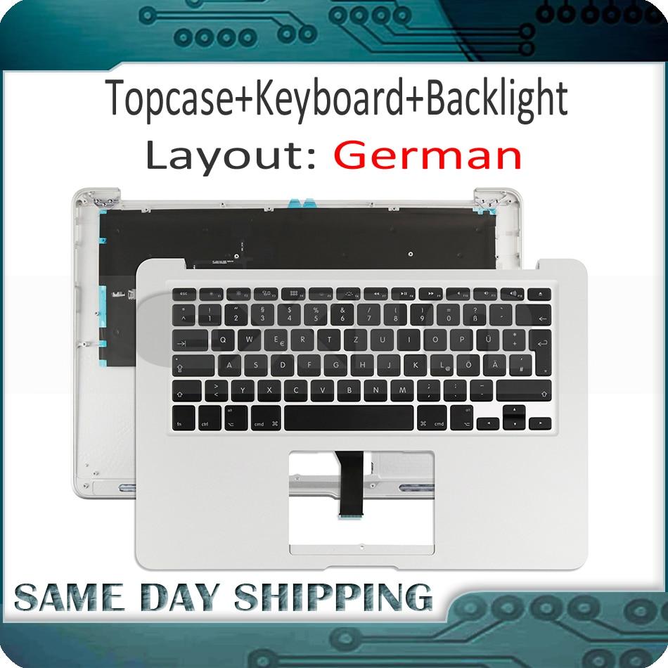 New for Macbook Air 13'' A1466 German DE QWERTZ Palm Rest Top Case Topcase w/ Keyboard+Backlight 2013-2015 661-7480 069-9397 цена