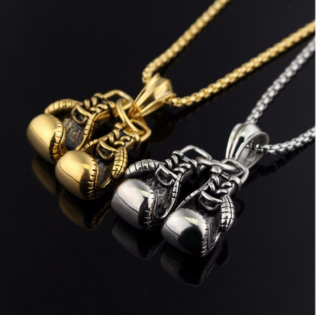 Fashion Sport Fitness Jewelry Double Boxing Glove Pendant Necklace Chic Men Hiph
