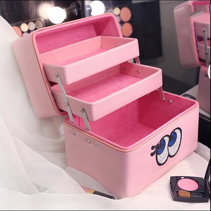 2017 Pink Portable Big Eyes Cosmetic Box Makeup Train Case Makeup Storage Brush Holder Makeup Big Capacity Organizer spark storage bag portable carrying case storage box for spark drone accessories can put remote control battery and other parts