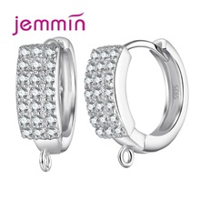 Hot Fine Jewelry Earring Accessory S925 Stamped Sterling Silver Ear Wire Hoop Earrings DIY Jewelry Components Findings cheap Jemmin 925 Sterling Zircon Third Party Appraisal Women TRENDY None Earring Findings ROUND