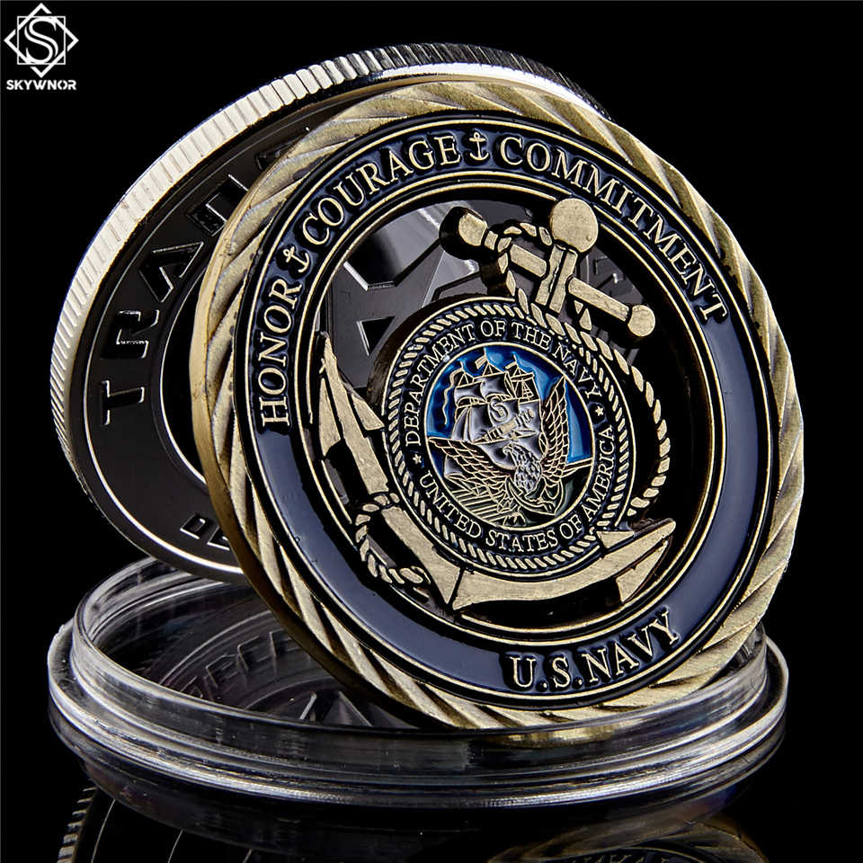 U.S. Navy Emblem Core Values Antique Copper Hollow Coin Medal of Courage Commitment Coins