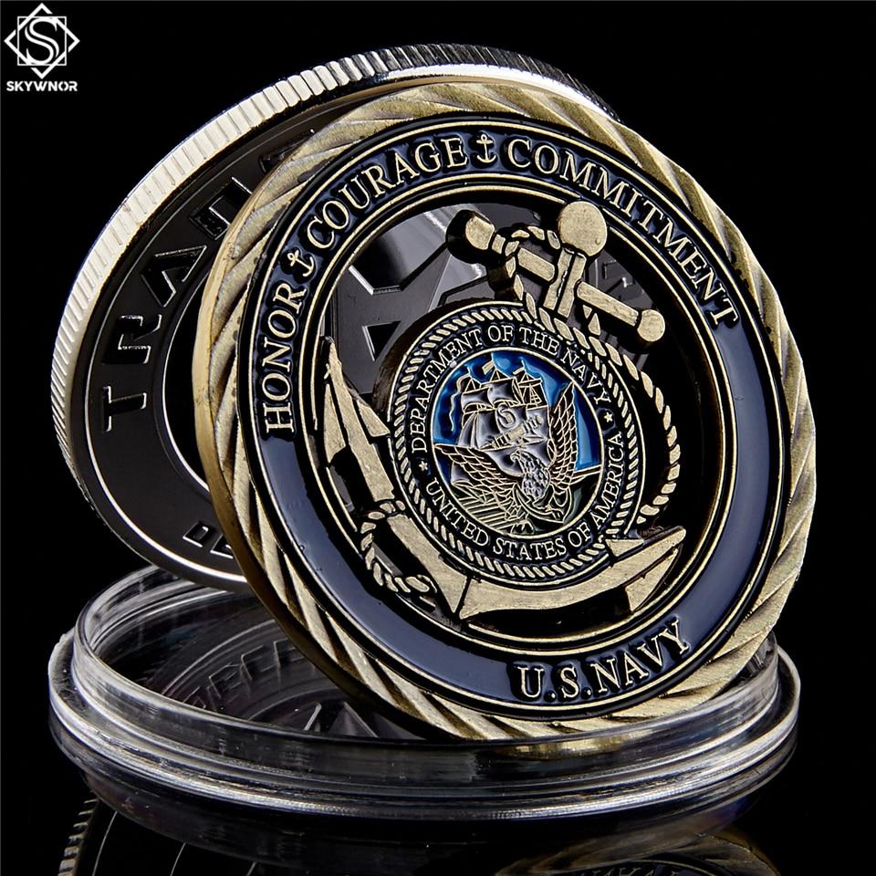 Emblema da marinha dos eua valores de núcleo cobre antigo oco moeda medalha de coragem compromisso moedas
