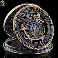 Medalla de compromiso de cobrizo hueco antiguo, emblema de la Marina de los Estados Unidos, valores básicos