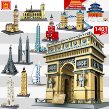 цена на 2019 World Great City Architecture Model Building Blocks City Creative Sets MOC Bricks Educational Kids Toy Gift