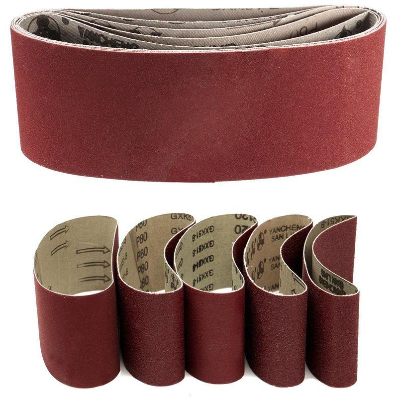 5x Sanding Belts 75*457mm Mixed Grade 60 80 120 240 Grit 3*18