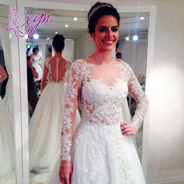 2016 Vintage Lace A Line Wedding Dresses With Full Sleeves Elegant ...
