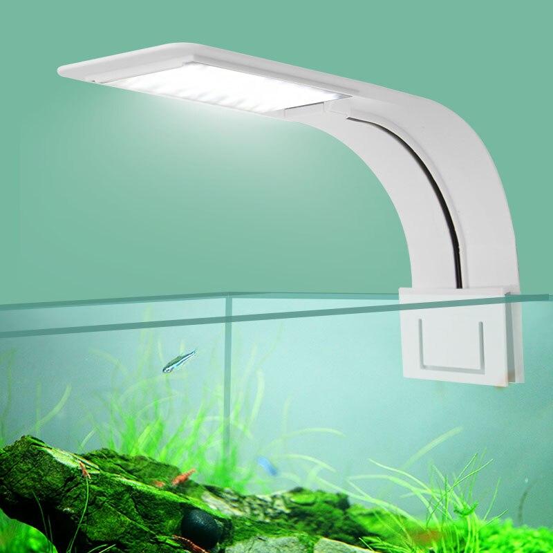 Super Delgado LED Luz de acuario plantas crece luz 5 W/10 W/15 W planta acuática iluminación impermeable Clip-on lámpara para pecera