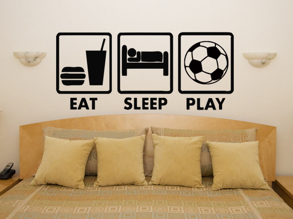 Cool boys bedroom wall decor eat sleep play football fan childrens bedroom decal wall art sticker picture mural d272 in wall stickers from home garden