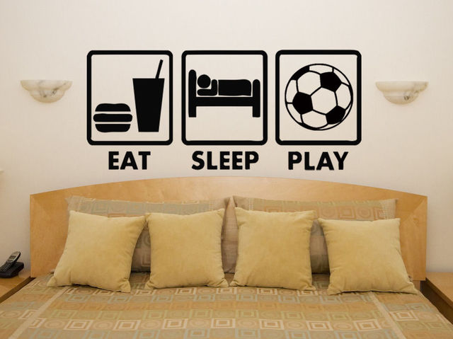 cool boys bedroom wall decor eat sleep play football fan childrens bedroom decal wall art sticker - Childrens Bedroom Wall Decor