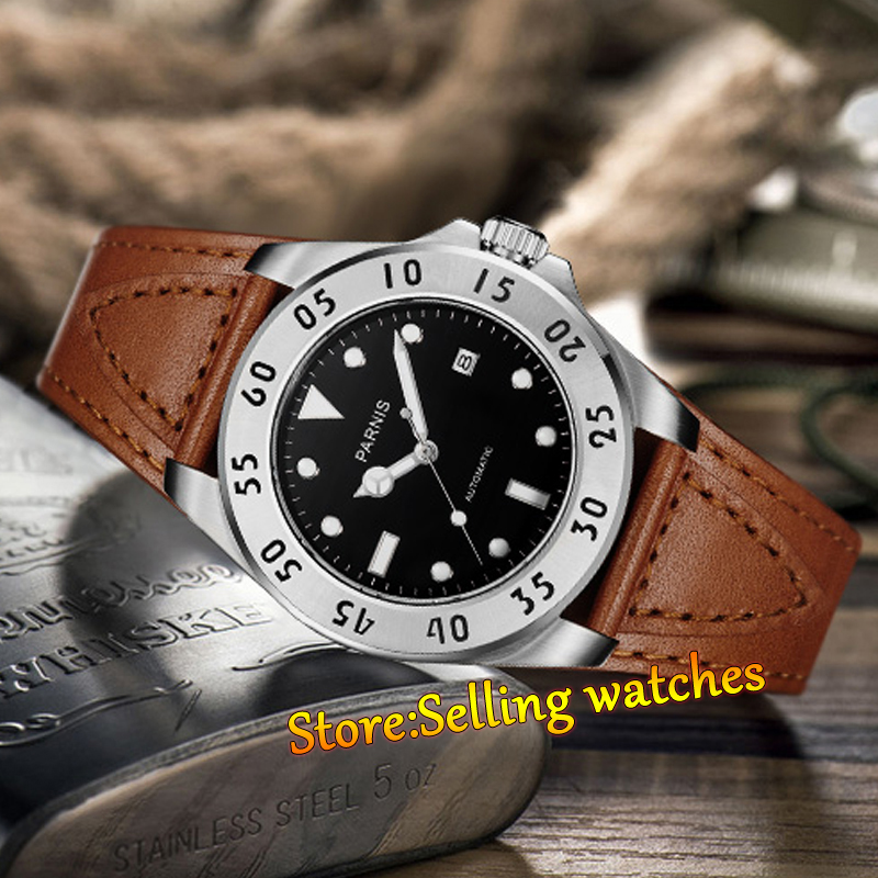 лучшая цена 43mm Parnis Black Dial Sapphire Glass Automatic Mens Brown Strap Watch