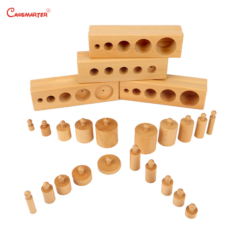 Sensory Exercises Knob Cylinder Blocks Beechwood Montessori Toys Educational Toys Child House Toy for Kids 5 years Old LT061 A3