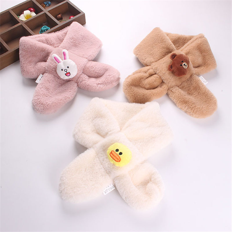2018 New Fashion Children's Scarf Lovely Winter Baby Ring Scarf Girls Children Solid Color Plush Cartoon Bear Warm Scarf