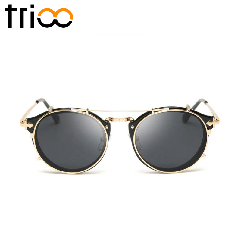 TRIOO Summer Black Sunglasses Men Brand Designer Steampunk Shades Gold Frame  Mirror Lens lunette Male Pilot Mirror Sun Glasses-in Sunglasses from  Apparel ... 9648ec89429