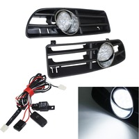 Pair 16 LED Driving Fog Light + Front Grill With Wiring Harness Relay & Switch For VW Golf MK4 GTI TDI Grille