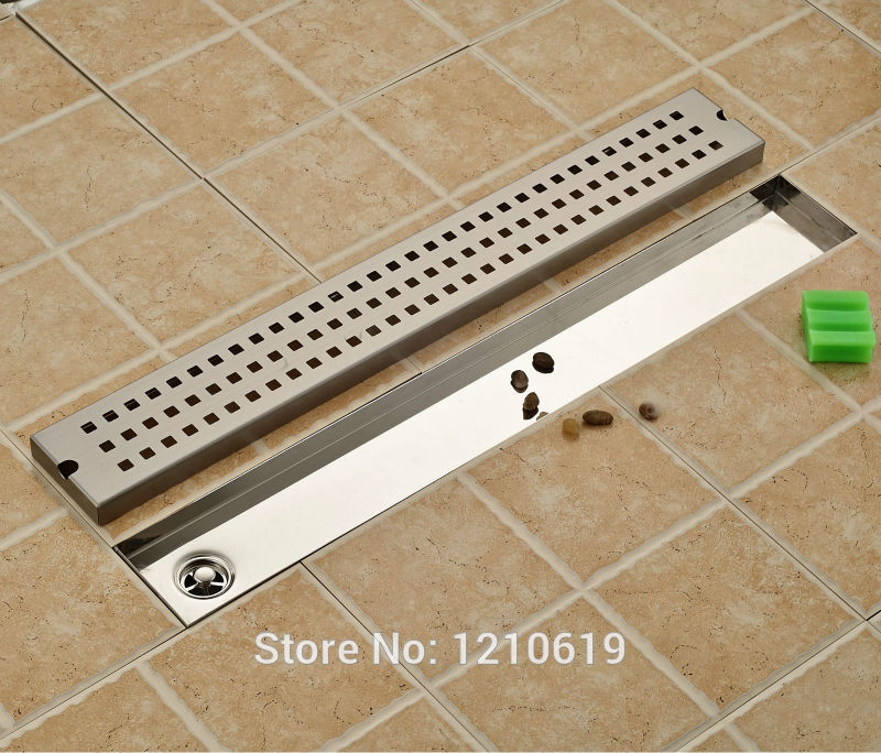 Newly Stainless Steel Nickel Brushed Floor Drain Shower Strainer 70*10cm Bathroom Balcony Floor Filler free shipping wholesale and reatil nickel brushed finished stainless steel floor drain