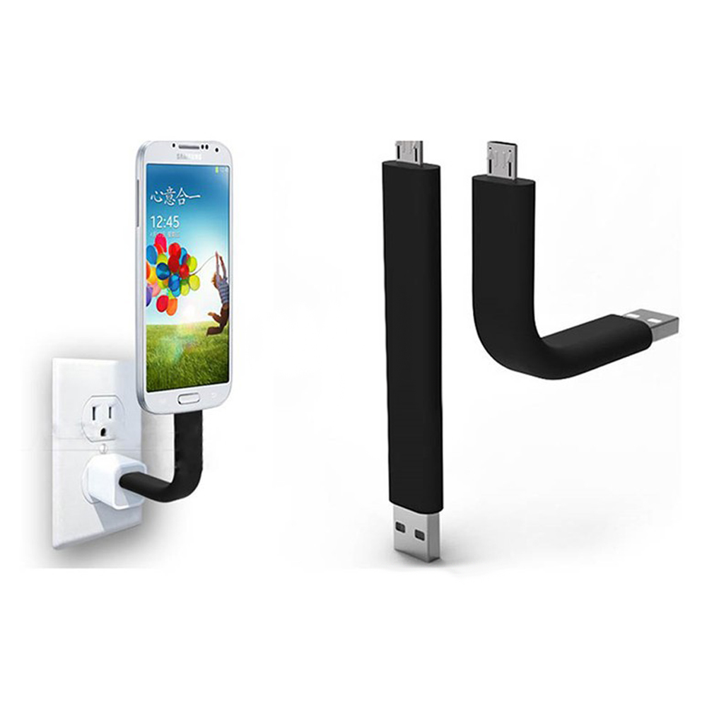 Flexible Short Mini 8Pin Micro USB Cable Charger Holder Data Sync Bend Wire For IPhone 5/5S/6S/6/7 Plus Android Samsung