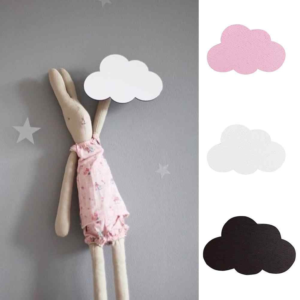 Nordic Style Cartoon Cloud Kids Room Wooden Stickers Wall Hanging Hook Home Decor Wall Decoration Crafts hanger key holder wall