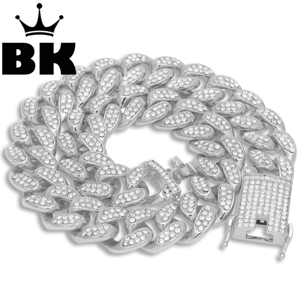Mens Hip Hop Gold Color Iced Out Crystal Miami Cuban Chain Gold Silver 18inch to 24inch Necklace HOT SELLING THE HIP HOP KINGMens Hip Hop Gold Color Iced Out Crystal Miami Cuban Chain Gold Silver 18inch to 24inch Necklace HOT SELLING THE HIP HOP KING
