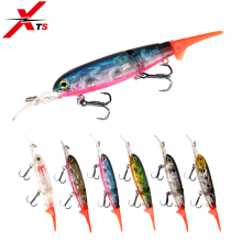 Купить с кэшбэком XTS Fishing Lures 90mm 8.6g Wobblers Crankbait Artificial Hard Minnow Bait Floating Two Sections  0-0.5m Fishing Jerkbaits 5357