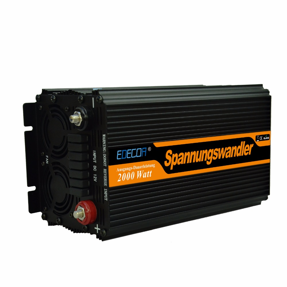 EDECOA power micro inverter 2000watts 4000w peak DC 12V 24V to AC 220V 230V modified sine wave off grid with LCD display