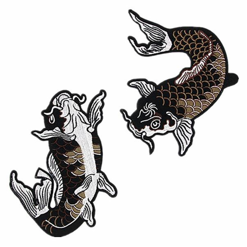 Fashion Embroidery Animal Patch 185mm Carp Diy clothes stickers deal with it Iron on pacthes for clothing T shirt women
