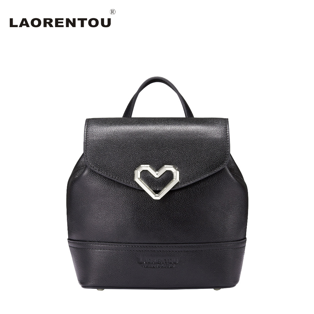 LAORENTOU Women Black Leather Backpack Female Fashion School Bag Ladies Work Back Pack Bags Small Backpacks For Teenage Girls aequeen womens backpacks nylon backpack shoulder bags fashion ladies small ruck school for girls travelling shopping bag
